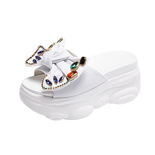 KaO0YaN Zapatillas de arco de verano de moda de agua de perforación de las señoras sandalias de oso fondo cómodo muffin grueso zapatillas de fondo-white_EU40zapatos casuales de moda de punta abierta