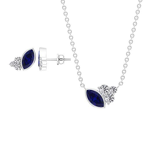 Blue Sapphire and Diamond Jewelry 1 CT, Cluster Jewelry Set, Gold Pendant and Earring Set (6X3 MM Marquise Shaped Blue Sapphire), 10K Yellow Gold With Chain