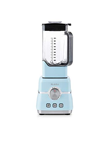 Flama Batidora de Vaso Pro Azul, 2000W, 32000 RPM, 6 Láminas de Alto Rendimiento, Vaso de Tritan, Capacidad de 2L, Función Pulse, Pica Hielo y Batidos, Sin BPA, Regulación de Velocidad Continua