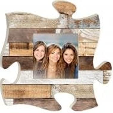 Rustic Wood Look 12 x 12 inch Wood Puzzle Piece Wall Sign Frame Plaque