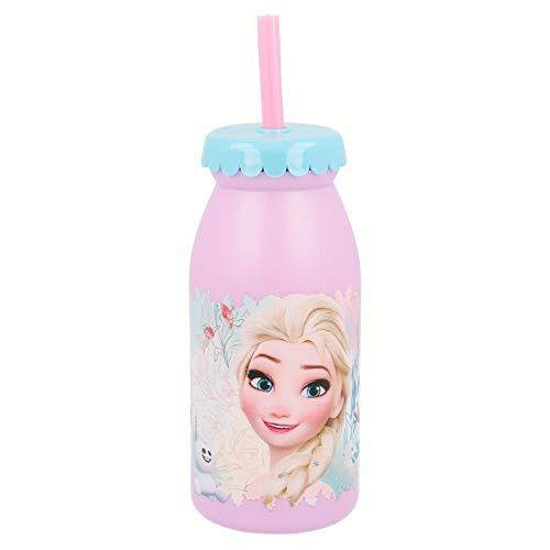 Disney Frozen–Bottiglia Latte 300ml con Cannuccia, Stor 86813
