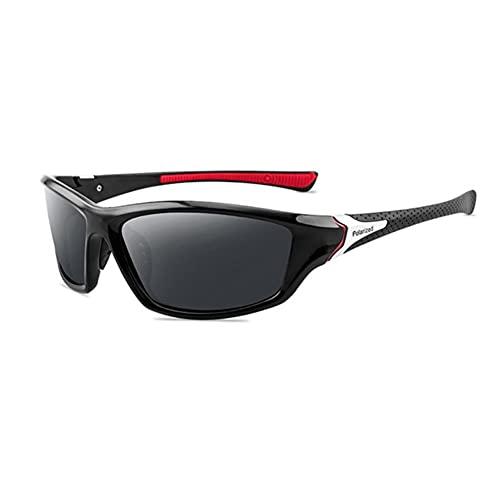 DovSnnx Unisex Polarizadas Gafas De Sol 100% Protección UV400 Sunglasses para Hombre Y Mujer Gafas De Aviador Gafas De Ciclismo Ultraligero Deportes Negro Rojo