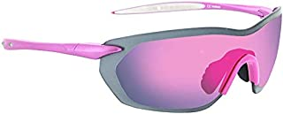 Optic Nerve, Fixie Pro, Unisex Sunglasses, Full Rimless Eyewear - Matte Aluminum Pink Frame with White Tips, Smoke with Pink Flash Lens