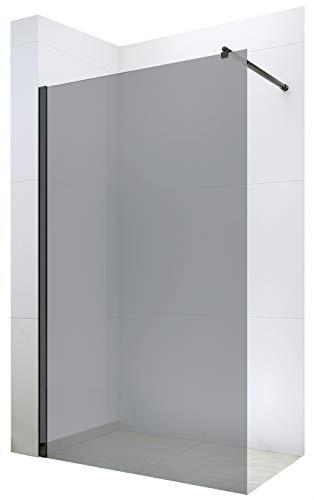 Duschabtrennung Walk-In Nano 8mm Echtglas EX101 Schwarz - graues Glas - Breite wählbar, Breite Walk-In:1100mm
