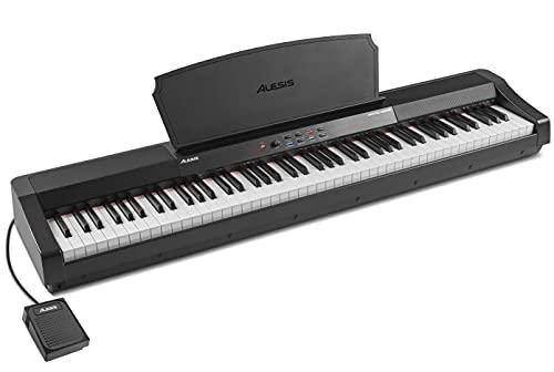 Alesis Recital Grand - Piano digital de 88 teclas contrapesadas de tamaño completo y con acción de martillo graduado, 16 sonidos de teclado de piano y altavoces integrados