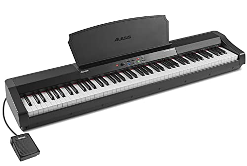 Alesis Recital Grand - 88 Key Digital Piano with Full Size Graded Hammer Action Weighted Keys, Multi-Sampled Sounds, 50W Speakers, FX and 128 Polyphony