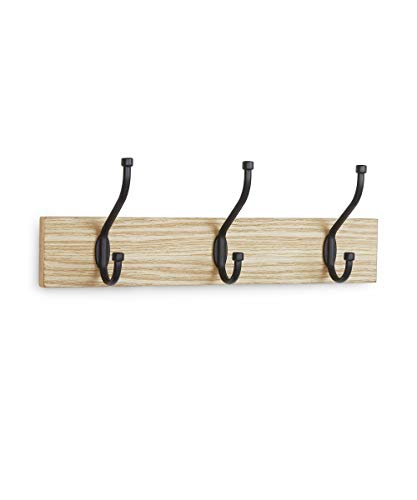 AmazonBasics Wall Mounted Standard Coat Rack, 3 Hooks, Set of 2, Natural
