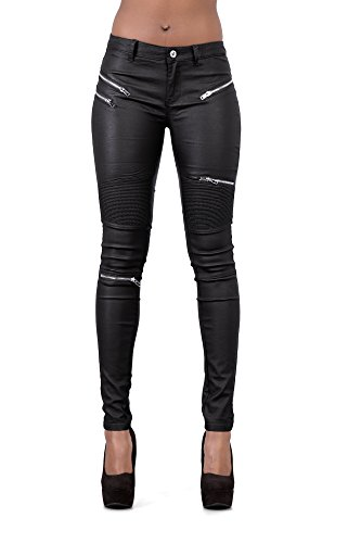 Crazy Lover Damen Kunstleder Leder Look Hosen Damen Biker Stretch Coated Jeans (36, Schwarz)