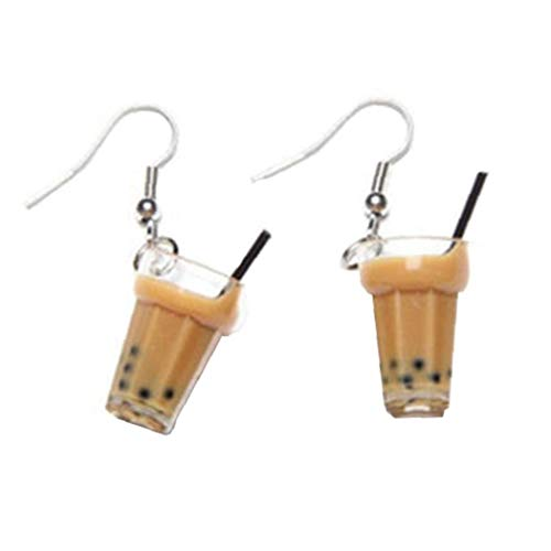 1pair Bubble Tea-Tropfen-Ohrringe, Persönlichkeit Lustige Milch Teetasse Tropfen Baumeln Haken-Ohrringe Partei Schmuck