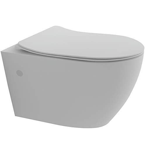 Spülrandloses Hänge-WC aus hochwertigem Sanitärkeramik in Weiß | Wand-WC mit Nanobeschichtung | Abnehmbarer WC-Sitz mit SoftClose Absenkautomatik aus Duroplast
