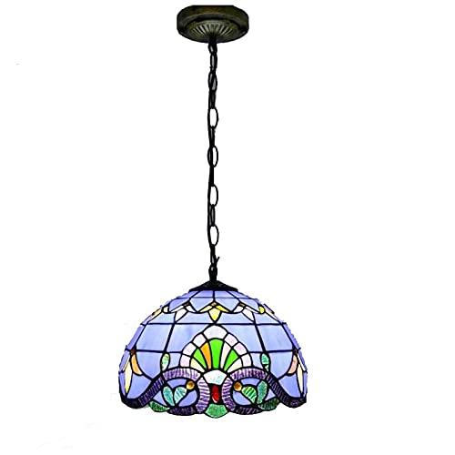 XYQS Luces Colgantes de Tiffanystyle para Comedor Creativo vitrocerámico Barroco hanglamp iluminación de iluminación para el Restaurante Pasillo Barra de Techo Lámpara Colgante, 110-240V, E27