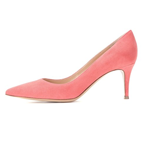 EDEFS Damen Mittlerer Hohe Absatz Pumps Klassisch Kitten Heels Schuhe Peach Größe EU42