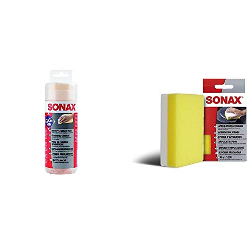 SONAX AutopflegeTuch Plus (1 Stück) großformatig und besonders saugfähig & ApplikationsSchwamm (1 Stück) zum Auftragen und Verarbeiten von Polituren, Wachsen, Kunststoffpflegemitteln etc.