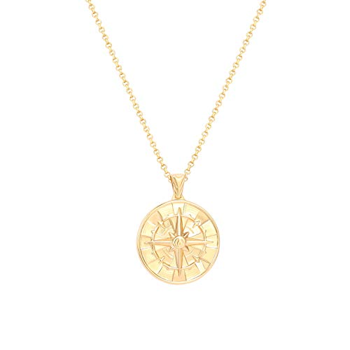 """AUSIKA 18K Gold Plate Compass Pendant Necklace for Women Dainty Sunflower Coin Necklaces for Girl Personalized Chain Layered Jewelry 20"""""""