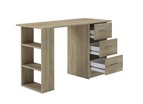 Home Heavenly® - Mesa escritorio DESKI estilo minimalista, robusto y espacioso, con 3 cajones y 3 estantes, gran capacidad de almacenaje, fabricación europea, 120 X 72 X 49 cm de Fondo (Roble natural)
