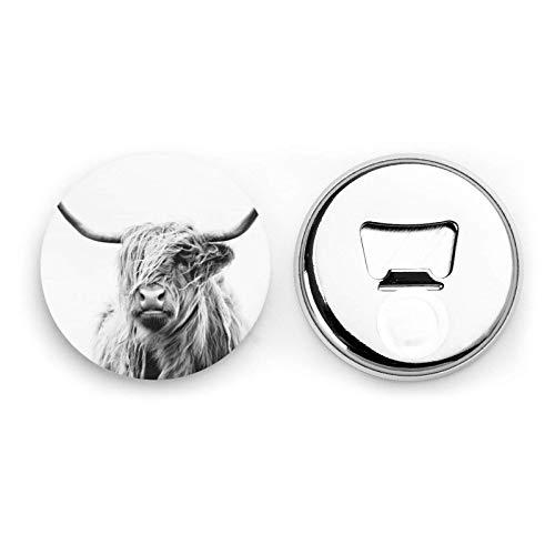 Retrato de una vaca de las tierras altas Imanes de refrigerador Abrebotellas...