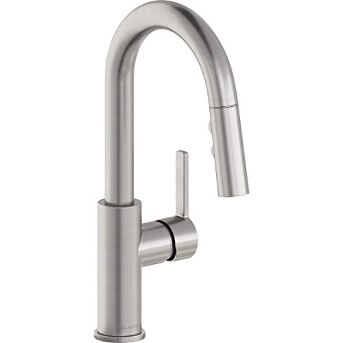 Elkay Avado Single Hole Bar Faucet with Pull-down Spray and Lever Handle, Lustrous Steel
