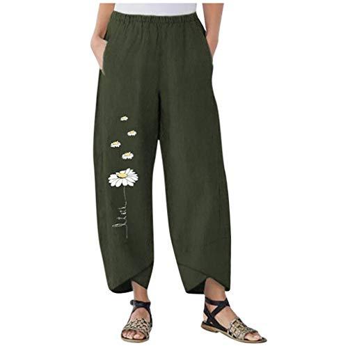 TIMEMEAN Damen Hosen Lang Bettwäsche Aus Baumwolle Elastische Taille Breites Bein Daisy Print Casual Short