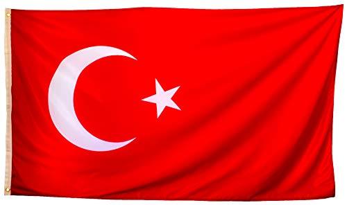 esvendio Bandera de Turquía Grande de Tela Fuerte, Bandera Turca para Exterior 150x90 cm