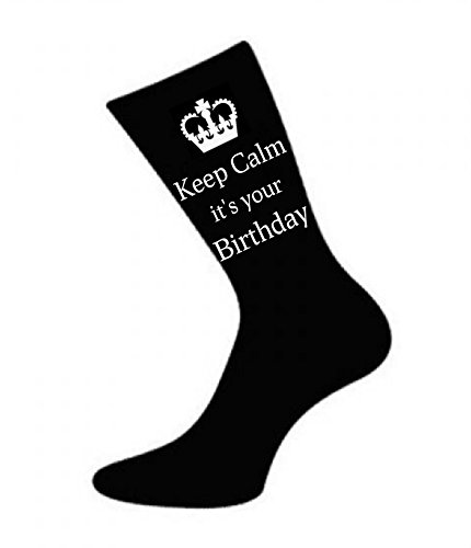 """Herren Socken mit Aufschrift """"Keep Calm It's Your Birthday"""", Schwarz"""