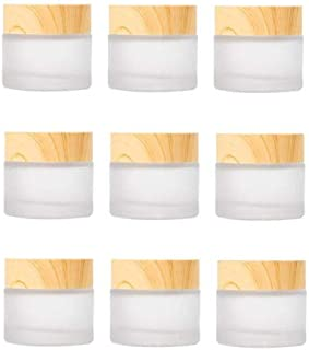 Healthcom 10 PCS 10 Grams/10 ML Jars Frosted Glass Cosmetic Cream Jar Bottle with Wood Grain Lid Empty Cosmetic Containers Refillable Glass Face Cream Pot for Makeup Lip Balms Eyeshadow