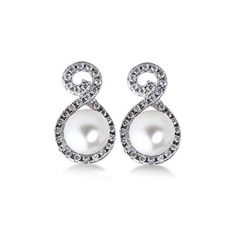 LDH 925 Sterling Silver Pearl Earrings for Girls Female Temperament Korean Personality Wild Earrings Simple Fashion Earring Cubic Zirconia Stud Earrings