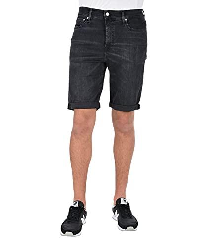 Calvin Klein Jeans Slim Pantalones Cortos, Denim Negro, 38W Short para Hombre