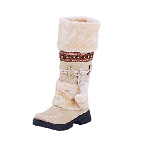 Minetom Bottes de Neige Femmes Chaussures Bottes Cuissardes d'hiver Bottes fourrées Femmes Bottes Slip-on Soft Bottes de Neige Bout Rond Plat Fourrure d'hiver Bottines Beige 38 EU