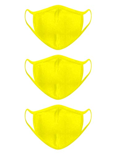 Carteyna Cotton Face Mask 2 Layer - Unisex for Dust and Pollution Protection, Washable, Reusable Cotton Fabric (3, Yellow)