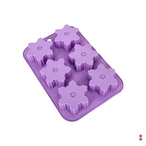 HEALIFTY Kuchenform 6 Hohlraum DIY silikon backformen Weihnachten Schneeflocke Form Mousse Kuchen Schokolade gelee tablett handgemachte seifenform (zufällige Farbe)