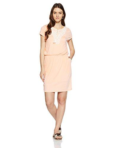 VERO MODA Damen Kleid Vmmatea MY SS Short Dress Jrs, Rosa (Peach Whip Detail:Snow White Lace and String), 38 (Herstellergröße: M)