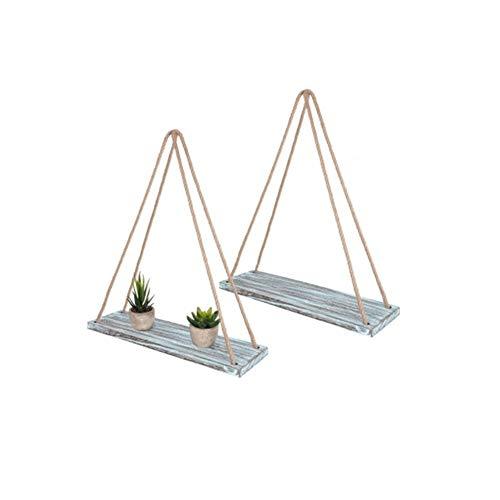 FSDCVSV-48 vägghylla, svänghylla 2 trä svärm hylla med string - liten kökshylla med rep - hängande hylla - för vardagsrum kök kontor vägg