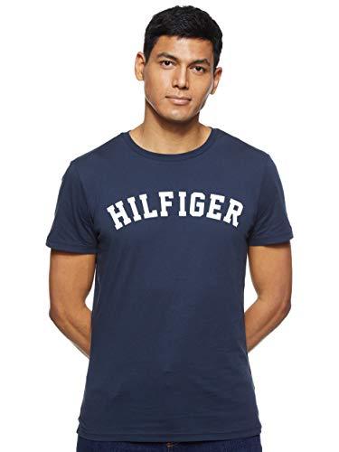 Tommy Hilfiger Logo Camiseta de Cuello Redondo,Perfecta para El Tiempo Libre, Azul (Navy Blazer), L para Hombre