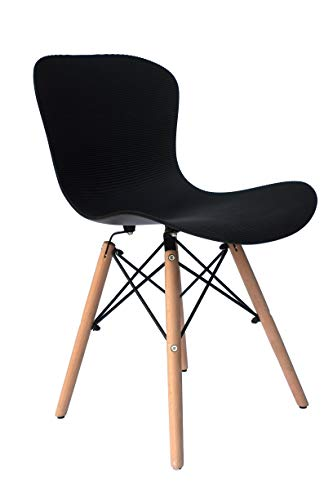 Inspirer Studio Set of 4 New 17 inch SeatDepth Eames Style Side Chair with Natural Wood Legs Eiffel Dining Room Chair Lounge Chair Eiffel Legged Base Molded Plastic Seat Shell Top side chairs (Corrugate Black)