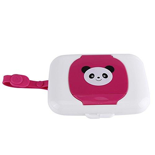 Caja de Almacenamiento de Toallitas Húmedas Para Cochecito Viaje al Aire Libre Para Bebés Caja Contenedor de Toallitas Húmedas Recargable Para Baño Sala[Panda Rosa]