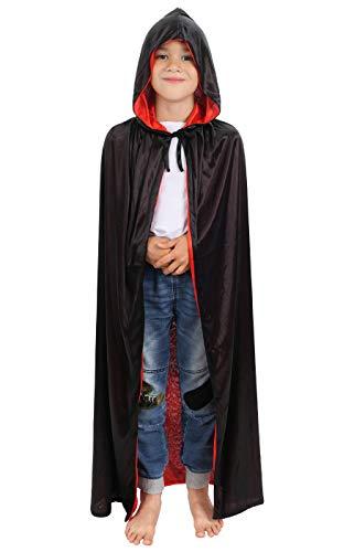 CoolChange Halloween Wende Umhang für Kinder, Rot/Schwarz, mit Kapuze