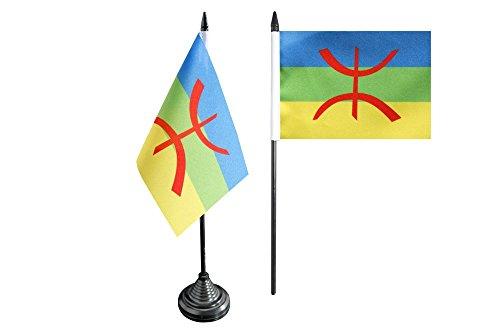 Tischflagge / Tischfahne Berber Amazigh + gratis Aufkleber, Flaggenfritze®