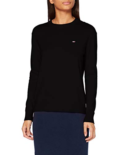 Tommy Jeans Damen Tjw Soft Touch Crew Sweater Pullover, Black, L