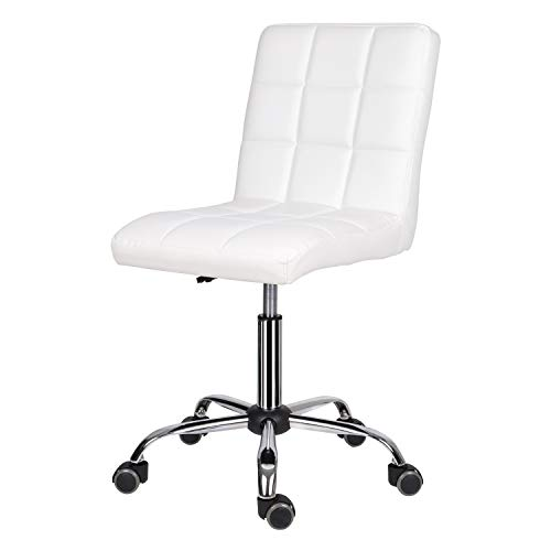 EUCO Office Chair,Leather White Desk Chair for Home Adjustable Height Swivel Chair Comfy Padded Computer Chair with Chrome Base,Home/Office Furniture