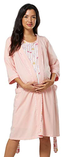 HAPPY MAMA Para Mujer Set Camisón Bata de Premamá Embarazo Lactancia 1280 (Albaricoque, 38,)