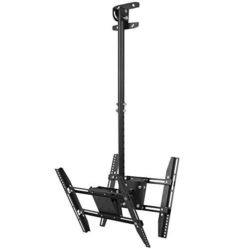 XQAQX Soporte para TV, Soporte de Techo para TV con Pantalla Doble y Altura Ajustable retráctil para TV de 32-65 Pulgadas