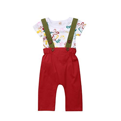 Qinngsha Little Lady Gentleman Árbol de Navidad Regalos Clásico Retro Diseño de Moda de Navidad Diseño de Impresión Halter Pelele+Pantalones de Liga General Trajes para Bebé Unisex