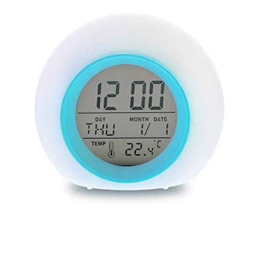 Kids Alarm Clock Digital Clock Bedside Clock LED 7 Color Changing Night...