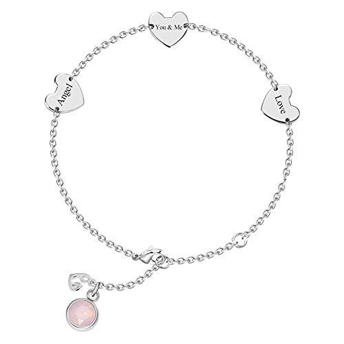 Soufeel Personalisiert Damen Armband mit 3*gravierbares Herz Anhänger & 12 Monate Geburtsstein optional intimes Geschenk für Frau, Freundin, Tochter