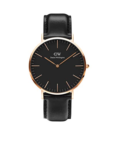 Daniel Wellington Classic Sheffield Orologio Uomo, 40mm, in Pelle, Nero/Oro Rosato