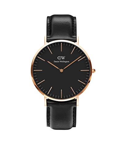 Daniel Wellington Classic Sheffield, reloj negro / oro rosa, 40 mm, cuero, para hombre