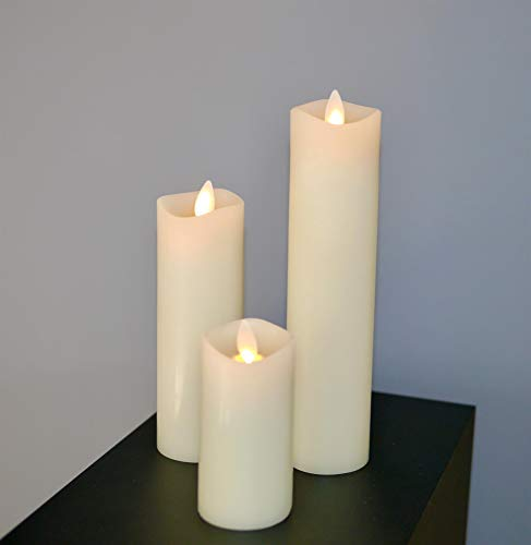 Luminara Candle Wax Virtual Candle Ivory Mini Pillar Set 10cm, 15cm & 20cm