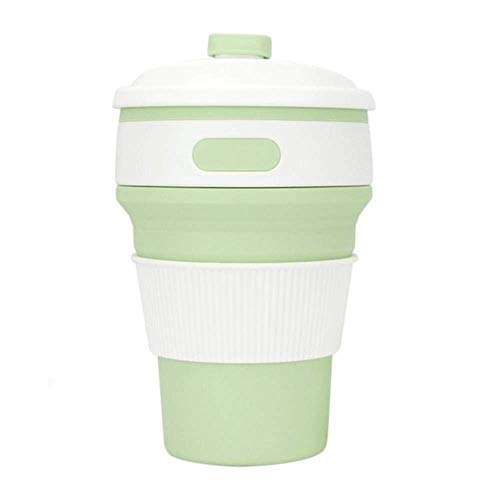 FSJIANGYUE Botella de Agua de Acero Inoxidable de Silicona portátil Cerveza de café con Estuche al Aire Libre Camping de Vacaciones Copa Plegable de Picnic, Taza Plegable de 350 ml (Color : -)