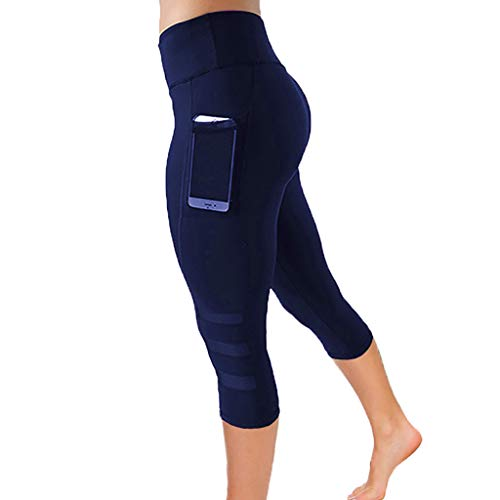 Lulupi Damen Sport Leggings 3/4 Yogahose Hohe Taille mit Taschen Sporthose Blickdicht Leggins Mesh Fitnesshose Laufhose Jogginghose
