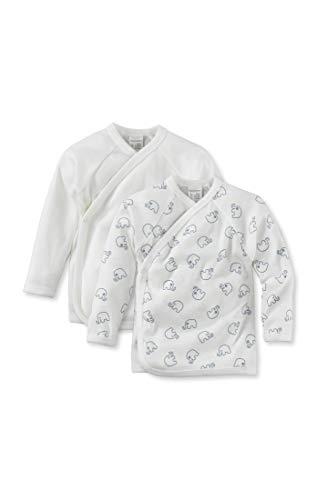 hessnatur hessnatur Baby Mädchen und Jungen Unisex Langarm Wickelhemd aus Reiner Bio-Baumwolle 2er-Set Bedruckt 50/56